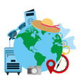 global planet with journey travel objects vector image vector image