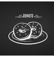 Hand drawn donuts in style chalkboard
