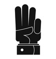 hand three icon simple black style vector image vector image