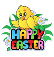 happy easter sign with chicken vector image vector image