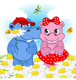 hippo boy gives flower girl vector image vector image