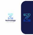 letter z technology line dot connection logo vector image vector image