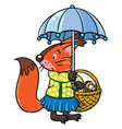 little funny squirrel with umbrella vector image