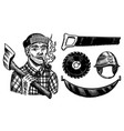 lumberjack with axe woodsman character and work vector image vector image