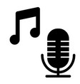 microphone with music note solid icon song vector image