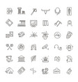 museum icons set museum exhibits collection vector image