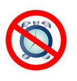 no ban or stop signs mechanical clock time icons vector image