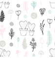 pastel seamless pattern with hand drawn cactuses vector image vector image