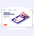 pharmacy isometric landing page pharmacist and vector image