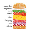 poster lettering burger hand drawn typography vector image