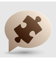 Puzzle piece sign Brown gradient icon on bubble vector image vector image