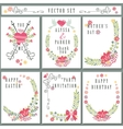 Retro card set with floral decorCute Holiday vector image vector image