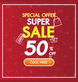 sale discount red banner background online shop vector image