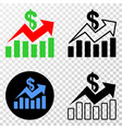 sales trend charts eps icon with contour vector image