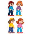 set cute girl character vector image vector image