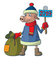 sign of the chinese new year mighty little pig vector image vector image