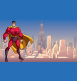 superhero standing tall in city vector image vector image