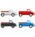 truck side view set colored vehicles vector image