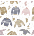 warm winter and autumn woolen sweaters in vector image