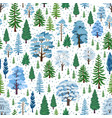 winter forest trees pattern a woodland background vector image vector image