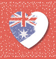 australian flag on heart in opacity graphic in red vector image vector image