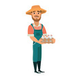 bearded man as farm worker vector image