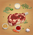 beef steak with delicious sauces and spices vector image vector image