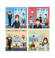 business people working and wearing medical mask vector image vector image