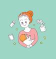 cartoon cute mom and baby feeding vector image
