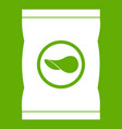 chips plastic bag icon green vector image vector image