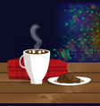 christmas of mug with hot cocoa vector image vector image