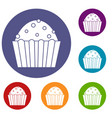 cup cake icons set vector image vector image