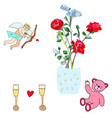 cupid roses pink teddy bear and champagne vector image