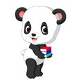 cute panda holding pencil and book vector image