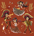 day of dead mexican skeleton party set vector image vector image