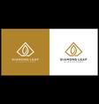 diamond leaf logo design line style vector image vector image