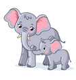 family elephants on a white background cute vector image vector image