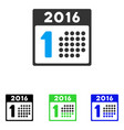 first 2016 day flat icon vector image vector image