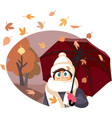 funny autumn girl feeling cold holding umbrella vector image