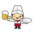 funny cook character holding a plate and a beer vector image vector image