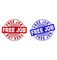 grunge free job scratched round stamp seals vector image vector image