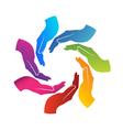 Hands teamwork logo vector image vector image