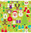 Happy New Year Flat Design Green Seamless Pattern vector image