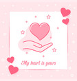heart on hand valentine card love text icon vector image vector image