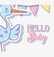 hello baby shower card vector image vector image