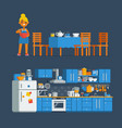 housewife chef make a cook in a kitchen vector image