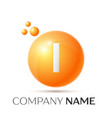 i letter splash orange dots and circle bubble vector image vector image