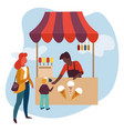 ice cream stall mother and son summer treat vector image vector image