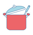 kitchen pot with ladle vector image vector image