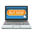 laptop with buy now button vector image
